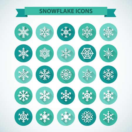schneeflocke: Einfache Schneeflocke-Ikonen mit langen Schatten-Effekt Illustration