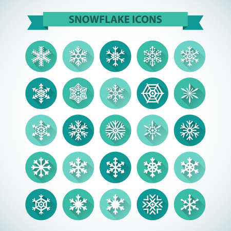 snowflake set: Simple snowflake icons with long shadow effect