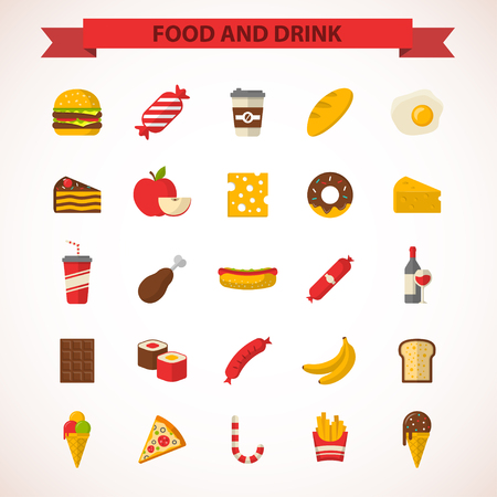 alimentos y bebidas: Alimentación y bebidas iconos del diseño plana. Ilustraciones del vector