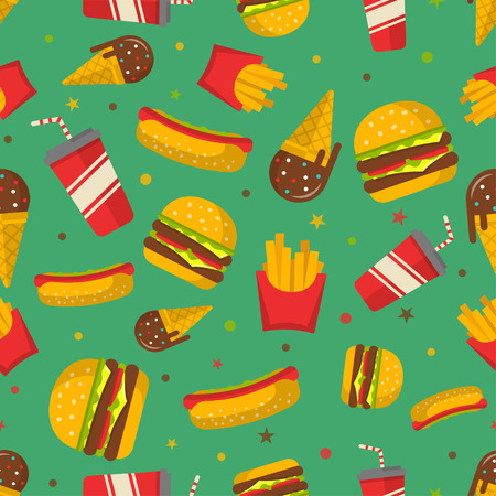 continental food: Fast food seamless patterns vector. Illustration