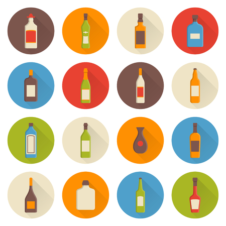 moonshine: Set of vector alcohol icons in a flat design style with a longshadow effect