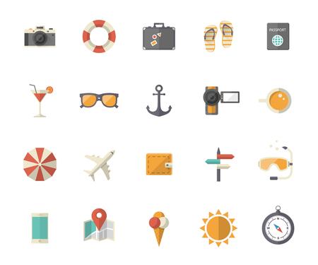 holiday vacation: Summer holiday, tourism and vacation flat icons Illustration