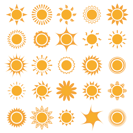 Set of sun icons collection. Vector illustration