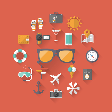 holiday vacation: Summer holiday, tourism and vacation flat icons with long shadow effect