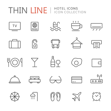mini umbrella: Collection of hotel and travel thin line icons