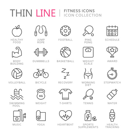 Collection of sport thin line icons Ilustrace