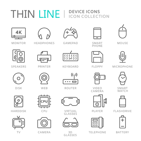 Collection of device thin line icons Ilustrace