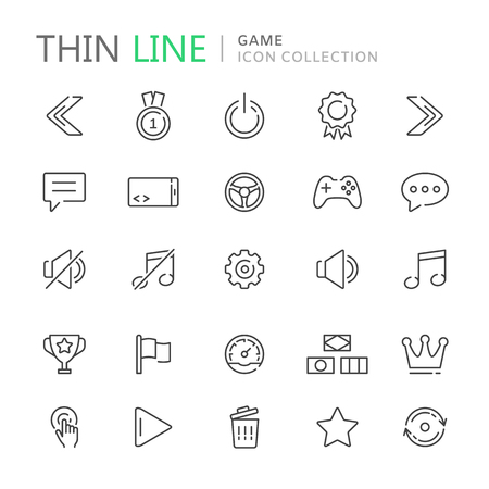 retry: Collection of game thin line icons