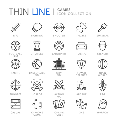 ine: Video game genres thin ine icons