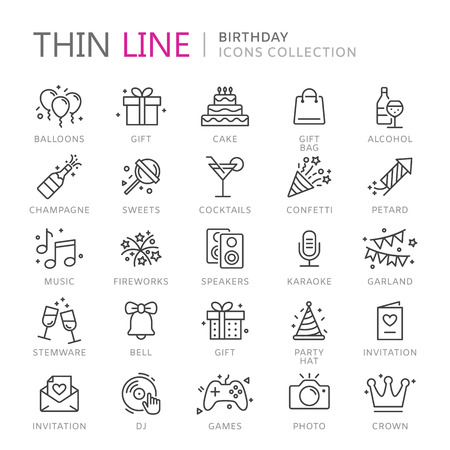 champagne celebration: Collection of birthday thin line icons, vector illustration.
