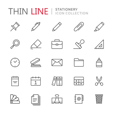 Collection of stationery thin line icons Stock Illustratie