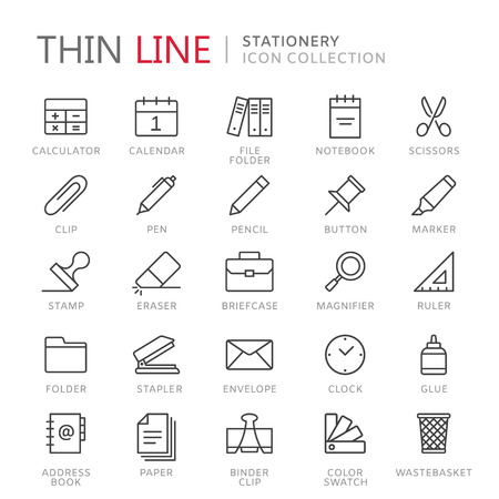 office stapler: Collection of stationery thin line icons Illustration
