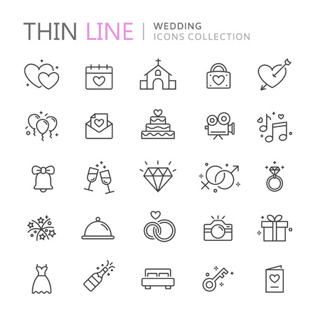 champagne celebration: Collection of wedding thin line icons