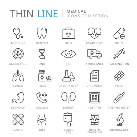 Collection of medical thin line icons Vettoriali