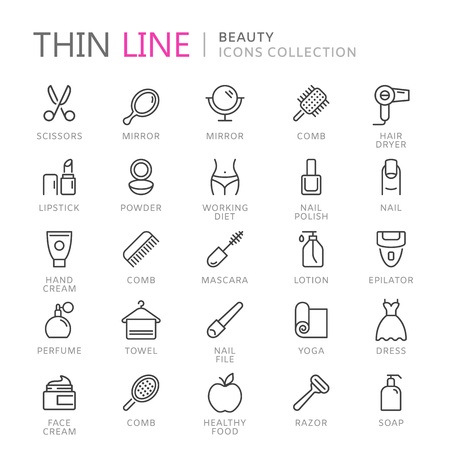Collection of beauty thin line icons.