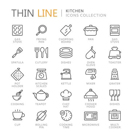 キッチン細い線アイコンのコレクション