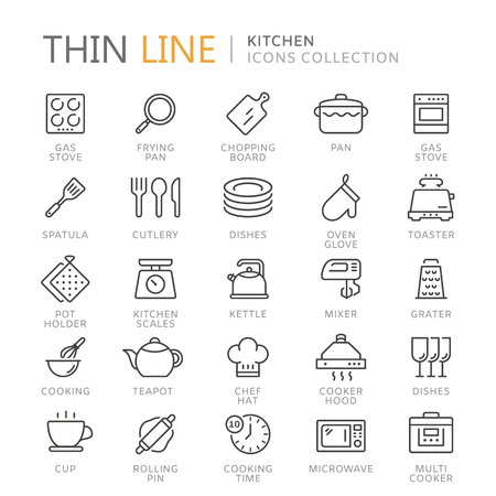 Collection of kitchen thin line icons Illustration