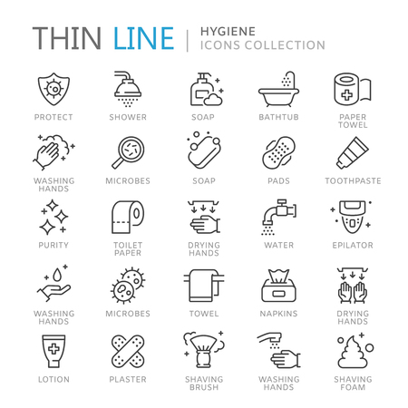 Collection of hygiene thin line icons.