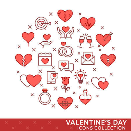 St. Valentines day icons. Vector eps 8.