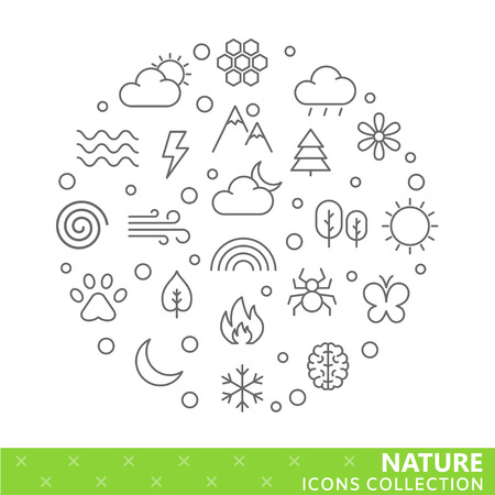 Collection of nature thin line icons. Vector eps10 Illustration