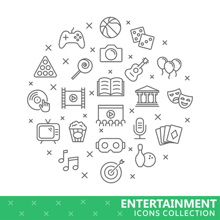 Collection of entertainment thin line icons illustration.