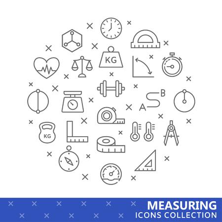 Verzameling van het meten van dunne lijn iconen