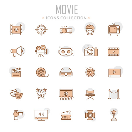 Collection of movie thin line icons illustration. Vettoriali