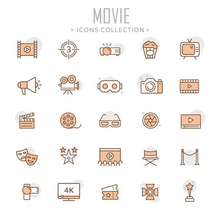 Colección de ilustración de iconos de línea fina de película.