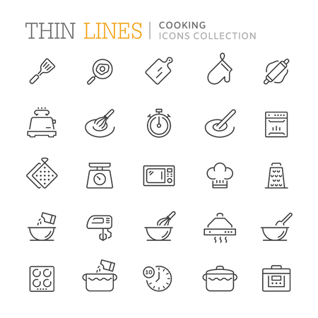 Collection of cooking thin line icons. Vector eps 8