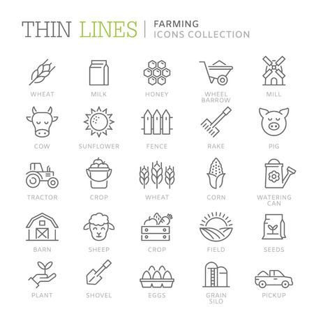 Collection of farming thin line icons 向量圖像