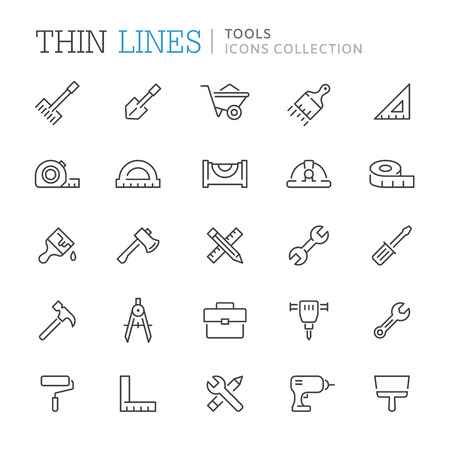 Collection of tools thin line icons