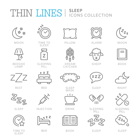 Collection of sleep related icons. Vector eps 8 Vettoriali