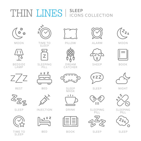 Verzameling van slaapgerelateerde pictogrammen. Vector eps 8