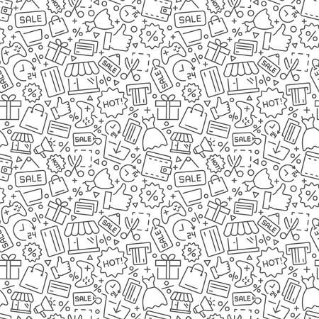 Patrón transparente de vector de compras. Formato vectorial eps8
