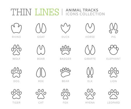 Collectie van dierensporen lijn iconen. Vector eps8
