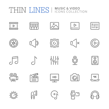 Collection of music and video related line icons Stock Illustratie