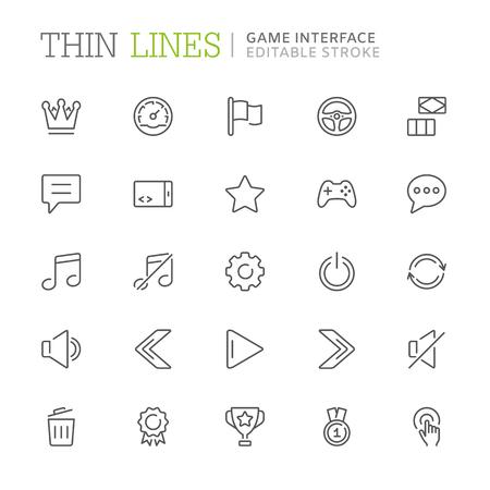 Collection d'icônes de ligne liées à l'interface de jeu. Trait modifiable