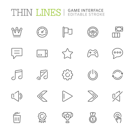 Collection of game interface related line icons. Editable stroke