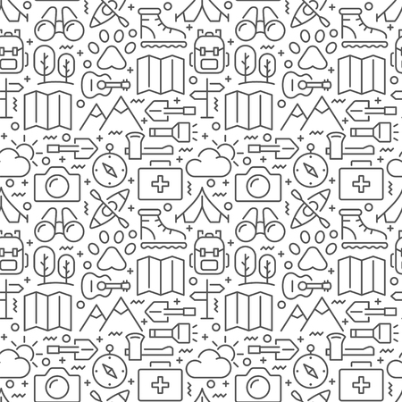 Campimg and hiking seamless pattern. Vector eps 8