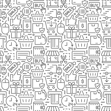 E-commerce seamless pattern with thin line icons
