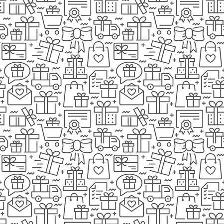 Presents seamless pattern with thin line icons Illustration