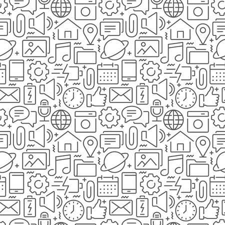 Sport seamless pattern with thin line icons