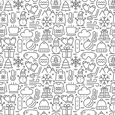 Winter seamless pattern with thin line icons