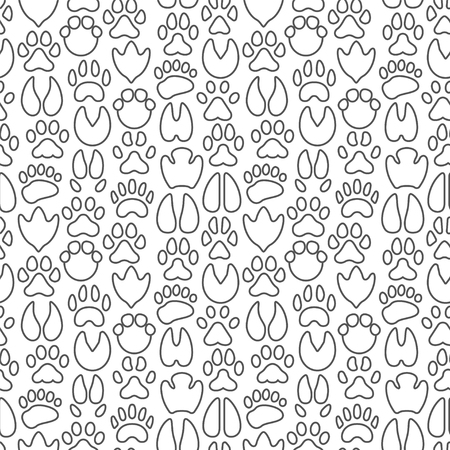 Animal paws seamless pattern with thin line icons