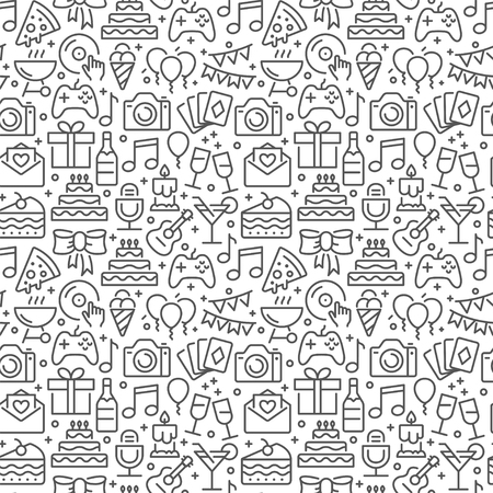 Party and birthday seamless pattern with thin line icons Illustration