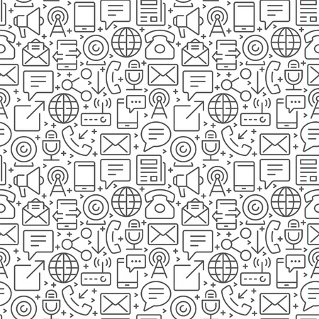 Communication seamless pattern with thin line icons