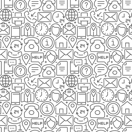 Contact us seamless pattern with thin line icons