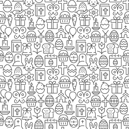 Easter seamless pattern with thin line icons