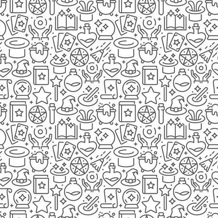 Magic seamless pattern with thin line icons