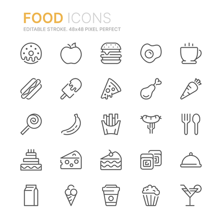 Collection of food related line icons. 48x48 Pixel Perfect. Editable stroke
